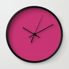 Even Horizontal Stripes, Red and Purple, XS Wall Clock