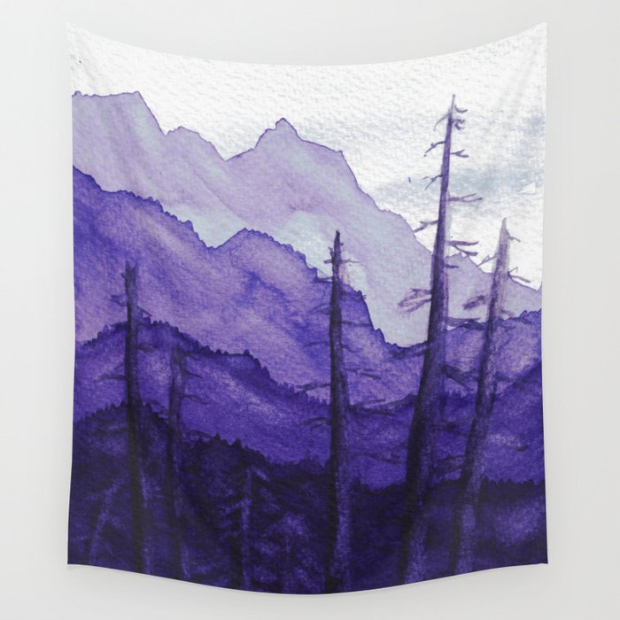 Tonal Mountain Study 2 Purple Wall Tapestry