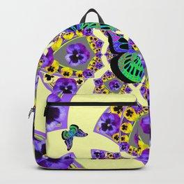 PURPLE  PANSIES & EXOTIC BUTTERFLY GEOMETRIC DESIGN Backpack