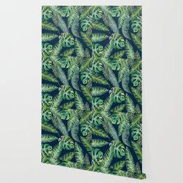Jungle Leaves, Banana, Monstera, Blue Wallpaper