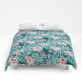 FRONDS ON FLEEK Tropical Palm Floral Comforters