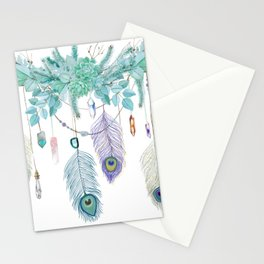 Peacock And Eucalyptus Crystal Spirit Gazer Stationery Cards