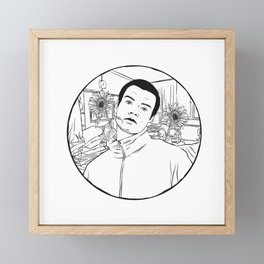 Flower Boy Line Art Framed Mini Art Print