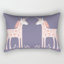 Unicorn with Flowers Rectangular Pillow