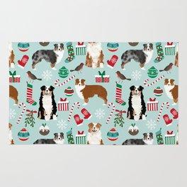 Australian Shepherd christmas festive holiday dog breed gifts for holidays Rug