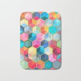 Crystal Bohemian Honeycomb Cubes - colorful hexagon pattern Bath Mat
