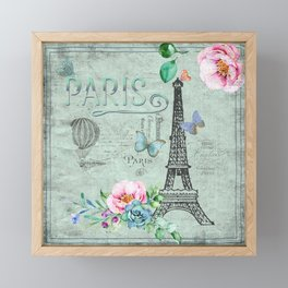 Paris - my love - France Eiffeltower Nostalgy - French Vintage Framed Mini Art Print