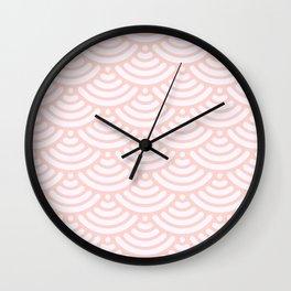 Pink Coral Mermaid Scales Bold Wall Clock