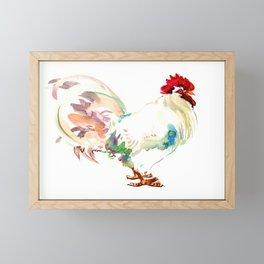 White Rooster Framed Mini Art Print