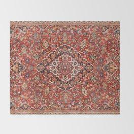 Kashan  Antique Central Persian Rug Print Throw Blanket