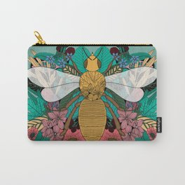 Floral Bee - Insect, Botanical, Illustration, Flowers, Spring, Bouquet, Garden Carry-All Pouch