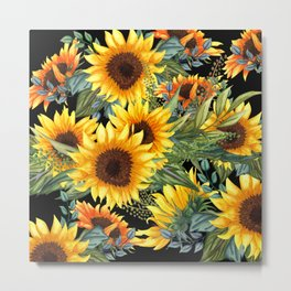 Art Sunflowers, Yellow and Green on Black, Floral Prints Metal Print