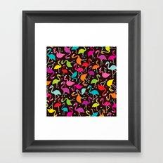 Brazil flamingo bird colorful retro pattern print Framed Art Print