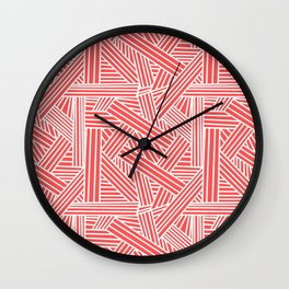 Sketchy Abstract (White & Salmon Pattern) Wall Clock