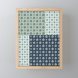 Vintage Tiles #society6 #pattern #indigo Framed Mini Art Print
