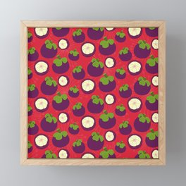 Tropical mangosteen fruit pattern on the coral background Framed Mini Art Print