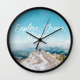 EXPLORE / DREAM / DISCOVER Wall Clock