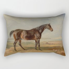 Dr. Syntax, a Bay Racehorse, Standing in a Coastal Landscape Rectangular Pillow