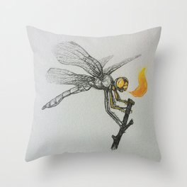 Fire-breathing Dragonfly Throw Pillow