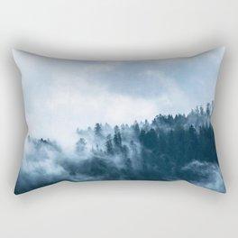 Blue Foggy Rocky Mountains Colorado USA Adventure Rectangular Pillow