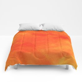 Pure Sunshine Orange and Yellow Abstract Watercolour Comforters