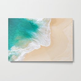 Sand Beach - Waves - Drone View Photography Metal Print