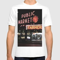 Pike Place Farmers Market - at night White Mens Fitted Tee MEDIUM