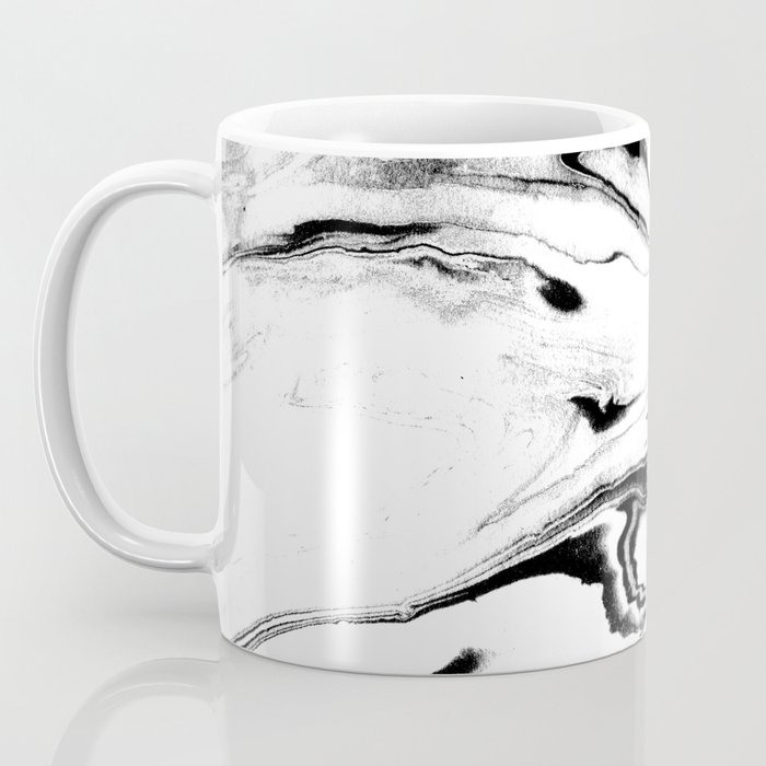 Yumiko - black and white spilled ink abstract painting marble texture pattern marbling marbled paper Coffee Mug