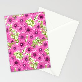 Pink watercolor petunia flower pattern Stationery Cards
