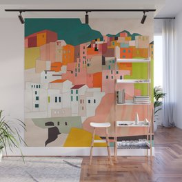 italy coast houses minimal abstract painting Wall Mural