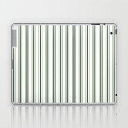 Large Dark Forest Green and White Mattress Ticking Stripes Laptop & iPad Skin