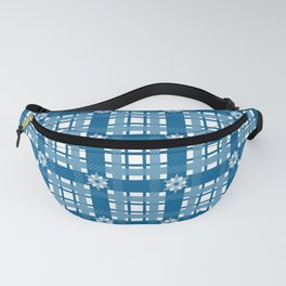 Holiday Blue Plaid with Snowflakes Fanny Pack