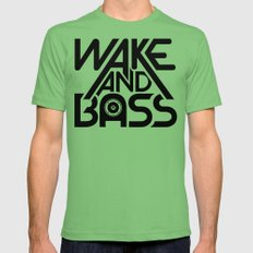 Wake And Bass (Black) Grass MEDIUM Mens Fitted Tee
