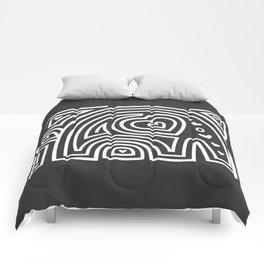 Mola Elephant (Black and White) Comforters