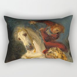 "Eugéne Delacroix ""Rider Attacked by a Jaguar"" Rectangular Pillow"