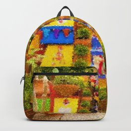 Casa Azul Tropical Garden Mexican Landscape Painting by Jeanpaul Ferro Backpack