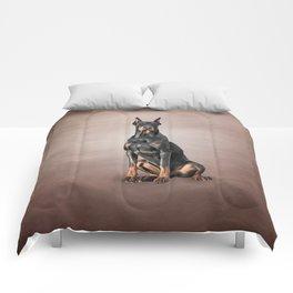 Drawing Doberman dog Comforters