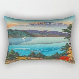 Tsuchiya Koitsu Vintage Japanese Woodblock Print Fall Autumn Mount Fuji Rectangular Pillow