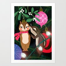 Chipmunk Kisses Holiday Card Art Print