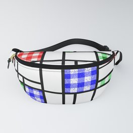 Gingham Blue Red and Green Modern Art Grid Pattern Fanny Pack