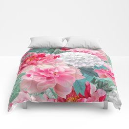 Pink White Floral Background Comforters