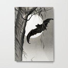 Bat flying under the full Moon - Japanese vintage woodblock print art Metal Print