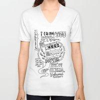 lyrics V-neck T-shirts featuring Lettering Lyrics by Insait