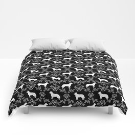 Australian Cattle Dog minimal floral silhouette pattern black and white dog art Comforters