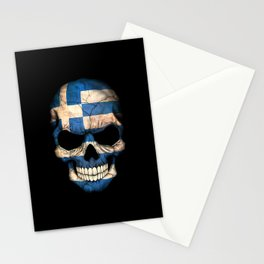 Dark Skull with Flag of Greece Stationery Cards