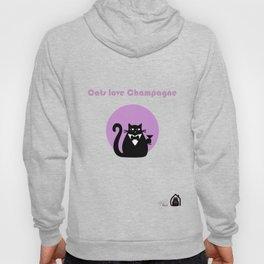 """Cats love Champagne"" by Qora & Shaï Hoody"