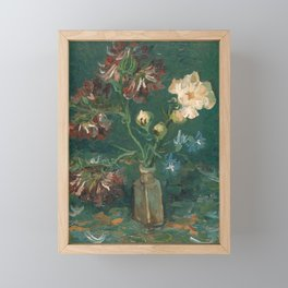 Van Gogh - Small Bottle with Peonies and Blue Delphiniums Framed Mini Art Print