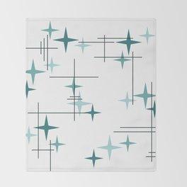 Mid Century Modern Stars (Teal) Throw Blanket