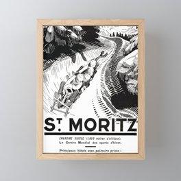 St Moritz Vintage Poster 1930 Switzerland's Engadin Valley Artwork for Posters Prints Tshirts Men Wo Framed Mini Art Print
