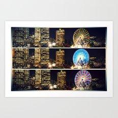 Melbourne Ferris Wheel Triptych  Art Print